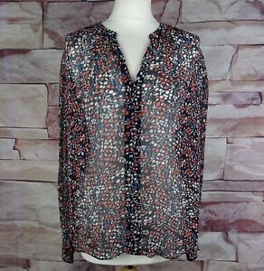 JIGSAW navy blue patterned sheer blouse size 12