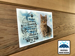 Pet Cat remembrance photo plaque, Bench plaque, Grave marker plaque.
