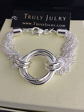 Ladies Luxury Designer 925 Silver Plated Multi Strand Bracelet Jewellery Gift UK