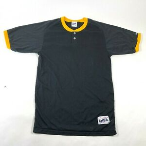 NEW Vintage Bike Tee T Shirt Mens L Black Yellow Trim Henley Button Neck 50/50