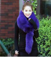 Women Real WHOLE Purple Fox Fur Shawl Cape Wrap Scarf Fur Collar Neck Warmer