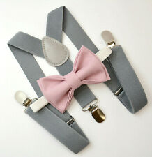 Kids Boys Mens Gray Suspenders & Mauve Pink Bow tie Infant - ADULT SET