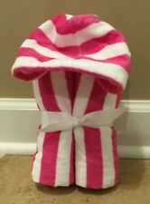 NEW Pottery Barn Kids Baby Stripe Nursery Bath Wrap Hooded Towel PINK