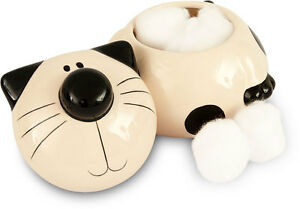 2Kewt Cat Ceramic Cotton Ball Holder with Lid