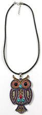 Multi Colour Owl Pendant Jewellery Beaded Gems Diamonte Black Leather Necklace