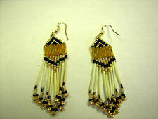 porcupine quill  earrings seed beaded gold /black   small pony bead ends