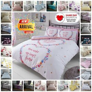 DUVET COVER SET With Pillowcase Reversible Quilt Bedding Single Double King Size