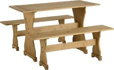 Dining Table and Bench Set 2 Wooden Solid Pine Benches Kitchen Home Furniture