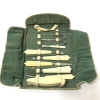 Vintage Travel Manicure Grooming Set in Roll Up Cloth Case with Snap Closures