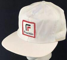 f61b62ceb4b44 Vtg 80s Mesh Trucker Hat Snapback Patch Cap Franklin Company Logo Promo Ad  White