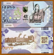 USA States, Idaho $50, Polymer, ND (2020) > Sacagawea, Fort Hall