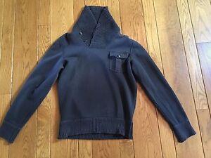 RRL DOUBLE RL Ralph Lauren Navy Cotton Shawl Neck Sweatshirt Small