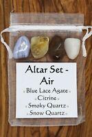 Altar Set Air Crystal Gift Set Smoky Snow Quartz Citrine Blue Lace Agate Pagan