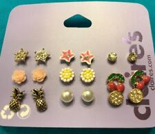 Nine Pairs Claire's Star Flower Stud Carved Rose Cherry Faux Pearl Earrings New
