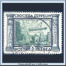 1933 Italia Regno Posta Aerea Crociera Zeppelin L. 3 ardesia e verde n. 45 Usato