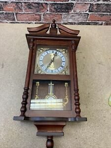 Vintage Wooden Chiming Wall Clock with Pendulum In Good Condition Tested