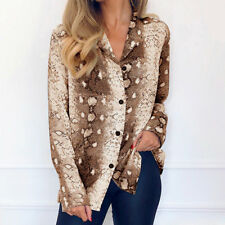 UK Women Leopard Print Chiffon Blouse Shirt Long Sleeve Ladies Tops Size 6-18