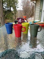 set 4 LATTE MUG CUP scarlet lemongrass sage lapis FIESTA WARE new