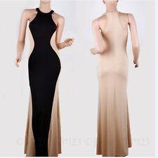 Stretch, Bodycon Halterneck Clubwear Full Length Women's Dresses