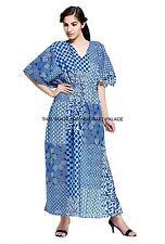 Womens Indigo Blue Floral Cotton Kaftan Loose Beach Long Maxi Shirt Dress Indian