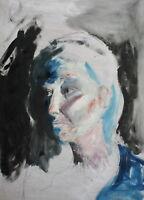 Vintage modernist oil painting woman portrait