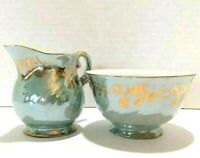 Fine English Bone China Sugar Bowl Creamer Aqua Luster Glaze With Gold Trim