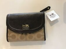 Coach madison op art medium wallet Khaki/Mahogany 46643