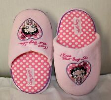 NEW BETTY BOOP S 5 6 Womens Slippers Shoes Pink Plush Non Slip Soles Polka Dots