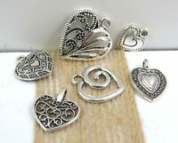 Set 6 HEART Charms, Antique Silver Tone Mixed Charm Collection Lot Love Romance