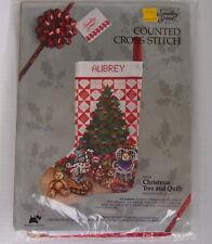 NOS Christmas Cross Stitch STOCKING Teddy Bears Tree Quilt Pattern Made USA 1988