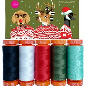 Aurifil Thread 50 wt Cotton 5 small spools Holiday Homies by Tula Pink