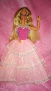 Vintage Barbie Mattel Puppe 1985 + Dream Glow Zauberglanz Kleid P228 Doll #2248