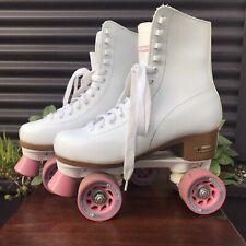 Chicago Skates White w/ Pink Wheels Ladies Women Us 6 Roller Quad Skates Pair