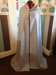 pointy hooded cloak light grey more colours available (c39) witch wizard fantasy