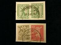 Alliierte Besetzung Berlin und Brandenburg 1946 - MiNr.1+5+7    2x Briefstücke