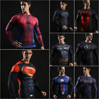 Men's T-Shirt Superhero Costume Long Sleeve Slim Fit Athletic Cycling Jersey Top