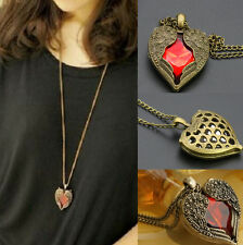 Women Love Heart Red Crystal Wing Long Chain Sweater Pendant Necklace Jewelry JE