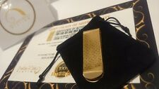 24Ct Gold Plated Spotted Executive Money Clip Cash Note Card Holder Gift Bag 24k