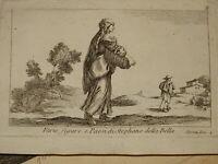 Stefano DELLA BELLA (1610-1664) GRAVURE PAYSAGE ANIMEE FEMME RENAISSANCE ITALIE