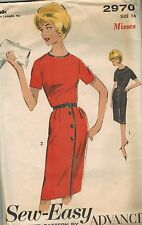 2970 Vintage Advance Sewing Pattern Misses Sew Easy Dress Casual Career 1960's
