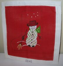 NEW PETIT POINT NEEDLEPOINT HAND PAINTED CHRISTMAS ORNAMENT RED SNOWMAN STOCKING