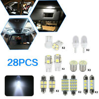 28Pcs White Car Interior LED Lights For Dome License Plate Lamp Accessories Kit