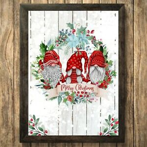 Gnomes Gonk Print Sign, Christmas Picture Merry Wall Decoration  A4 Unframed 3