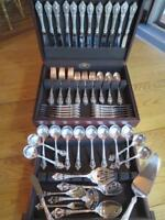 LUNT ELOQUENCE STERLING SILVER FLATWARE*SET*S-12+RARE SERVERS+CHEST*80P*MINT****
