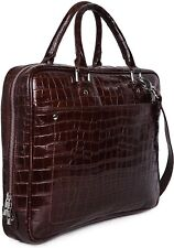 Genuine Buffalo Leather Brown Croco Print Leather Laptop Bag for Men Women