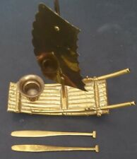 Brass Sailboat Raft Incense Candle Burner w/ Paddles Bamboo Style Vintage RARE
