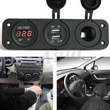 5V 3.1A LED Triple Dual USB Car Charger Digital Voltmeter Socket Panel Mount US