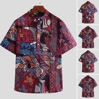 Men's Short Sleeve Shirt Hawaiian Beach Summer Floral Printed Casual Tops Blouse