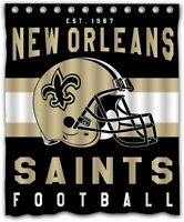 New Orleans Saints Waterproof Shower Curtain With 12 Hooks Set Bathroom Decor