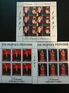 princess Diana and Elton john + 2 more mini sheets  1997 -MNH  A Super Set !